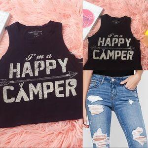 ➕ Happy Camper Crop Top Sleeveless Shirt SZ XS